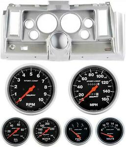 69 Camaro Silver Dash Carrier W Auto Meter Sport Comp Mechanical 5 Gauges