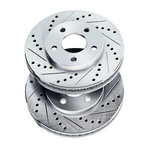 Brake Rotors 2 Front Powersport Drilled Slotted Disc Bj27153