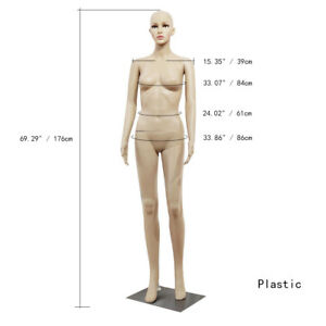 New Female Mannequin Plastic Realistic Display Head Turns Full Dress Form W base