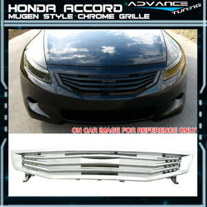 For 11 12 Honda Accord Mugen Style Mesh Front Grille Grill Abs Chrome