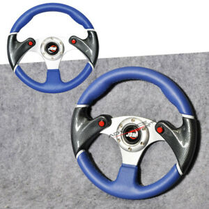 Universal Steering Wheel Carbon Fiber Print 320mm 32cm Black Blue Pvc Jdm Horn