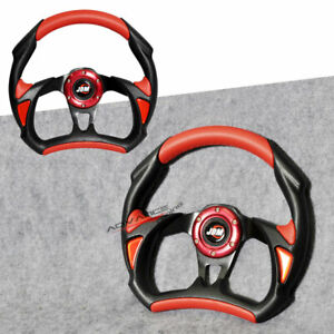 Universal 32cm Battle Type Jdm Black Red Pvc Leather Steering Wheel 6 Hole