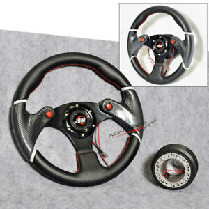 Fits 32cm Black Red Stitch Steering Wheel Pvc Leather Hub Adapter Jdm Horn