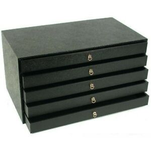 5 Drawer Black Assorted Inserts Jewelry Collectibles Display Storage Unit Case