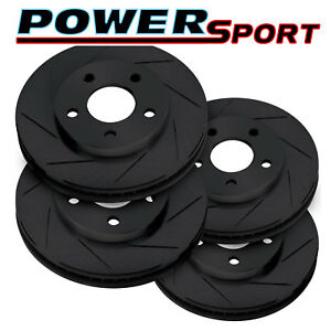 Fit 2010 Subaru Forester Front Rear Powersport Black Slotted Brake Rotors