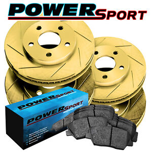 Full Kit Gold Slotted Brake Rotors And Ceramic Brake Pads 2012 2016 Ford Focus
