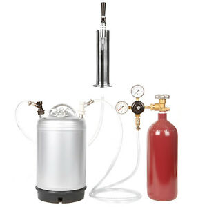 Nitrogen Keg Kit 20 Cuft N2 Tank 3 Gallon Keg Stout Tap Tower Ships Free