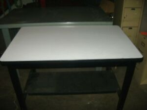 Retail White Laminate W Metal Frame Work Table