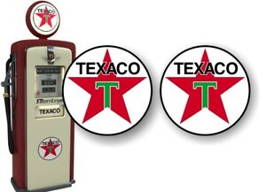 2 Texaco Gasoline Vintage Gas Pump Decals Service Station Pumps Sign Stickers