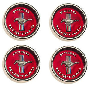 New 1965 1966 1967 Mustang Style Steel Wheel Hub Caps Set Of 4 Red Center