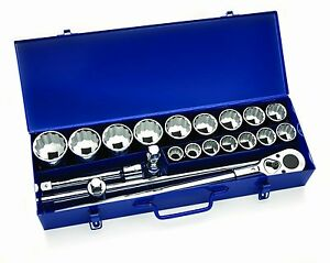 20 piece 3 4 Drive Socket lok Tool Set In Metal Box sae 12 point williams 33901