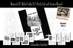 Monarch 10 Metal Lathe Ee 1 Owners Manual Schematics And Parts List