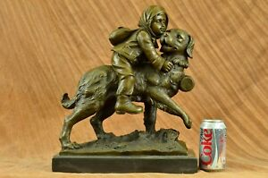 Signed Guadez Bronze Statue With Dog Statue Girl With Dog Figure Hot Cast Gift