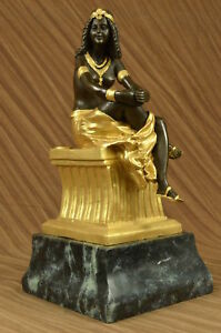 Signed Chiparus Charming Bronze Marble Statue Sculpture 15 Tall Figurine