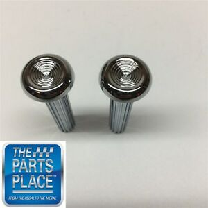 1968 70 Gm Cars Chrome Ribbed Door Lock Knobs Pair