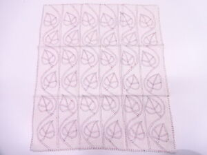 Vintage Japanese Kimono Antique Fabric Embroidery Leaf Napkin