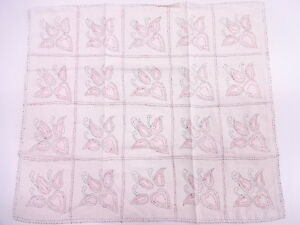 Vintage Japanese Kimono Antique Fabric Embroidery Abstract Napkin