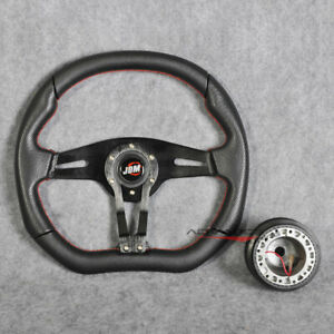 Jdm Horn 350mm Steering Wheel Black Pvc Spoke Red Stitch 6 Holes Hub Adapter