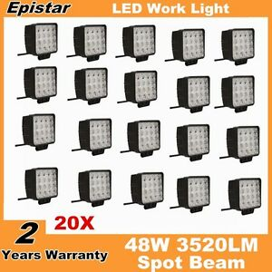 20x 48w Square Led Work Light Spot Lamp Truck Offroad Fog 4wd Driving 12v 24v