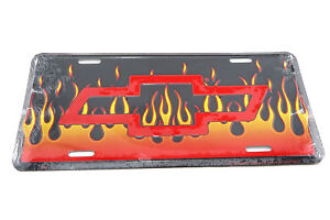 Chevrolet Chevy Bow Tie W Flames Licensed Aluminum Metal License Plate Sign Tag