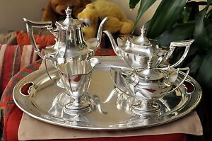 Vintage Gorham Plymouth Sterling Silver Tea Coffee Set With Tray 43 Photos