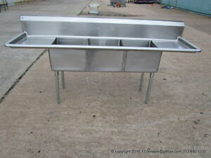 Stainless Steel 3 Compartment Sink 18ga Bowl Size 18 x18 x12 2x18 D b Nsf