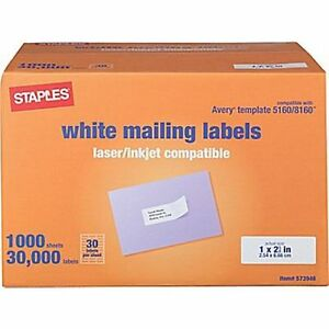 Address labels 5160 rockland county business equipment for Staples white mailing labels template