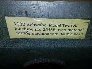 Herman Schwabe twin Hydraulic Dual Platen Die Cutting Clicker Press