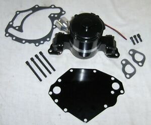 Billet Aluminum Black Ford 351c Cleveland Electric Water Pump W Plate Sbf V8