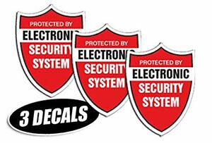 3 Pack Security System Decals Sticker Decal Label Video Warning Cctv Camera Al