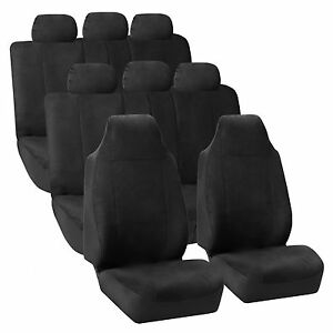3row Highback Suv Van Seat Covers Royal Leather For Auto Black