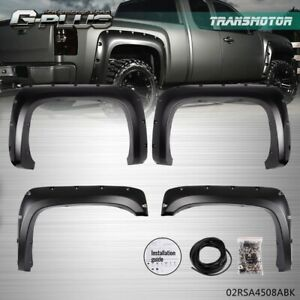 For 07 13 Chevy Silverado 1500 2500hd 3500hd Rivet Fender Flares Pocket Style