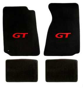 New 1994 2004 Ford Mustang Black Floor Mats With Gt Logo Red Set Of 4 Carpet