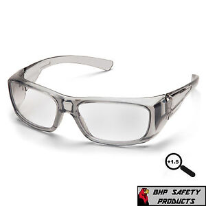 Pyramex Emerge Gray 1 5 Clear Full Magnifying Lens Reader Safety Glasses Z87