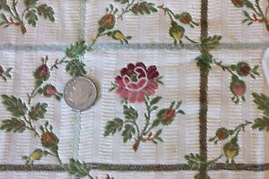French Antique Roses Buds Silk Cotton Brocaded Fabric Textile C1918 Sm Frame