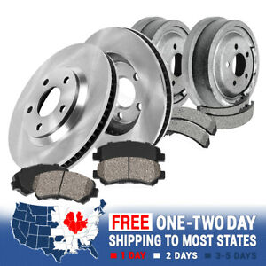 Front Brake Rotors Ceramic Pads Rear Drums Shoes For Chevy S10 Gmc Sonoma