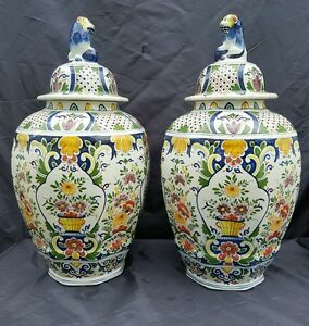 Set Of 2 Big Polychrome Ceramic Vases Marked Boch Freres Keramis Floral Decor