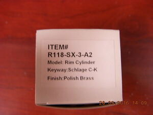 R118 sx 3 a2 box Of 10 Rim Lock Cylinder Polished Brass Schlage C k Kwy