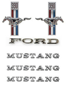 New 1967 Ford Mustang 390 Running Horse Emblem Kit Fenders Hood Trunk 6 Pc Set