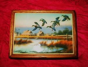Jewelry Box W Picture Tile Sign J Raedeke Breakfast At Peterson S Vtg