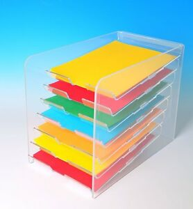Paper Tray Display Desktop Paper Organizer 7 Tier Letter A4 Paper Trays