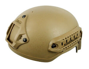 Airsoft Tactical Hunting MICH 2001 Helmet with Side Rail & Mount DE Tan
