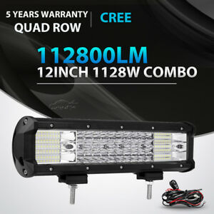 12inch 1128w Quad Row Led Light Bar Spot Flood Offroad 4wd Jeep Truck Suv 14 15