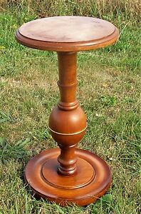 Small Vintage Wood Brass Pedestal Table Plant Stand Side Table 18 11
