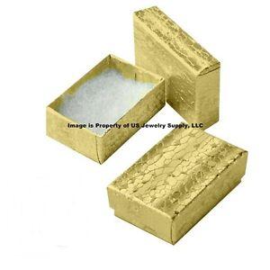 Cotton Filled Jewelry Gift Boxes Gold 100 Pack 2 1 8 X 1 1 2 X 5 8 Small Size