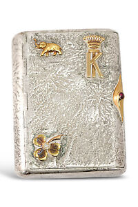 Imperial Russian Samorodok Silver Cigarette Case With Gold Ornaments Unique
