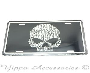 Harley Davidson Motorcycles Willie G Skull Aluminum Metal License Plate Sign Tag