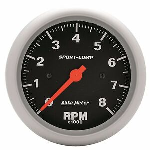 Autometer 3 3 8 In dash Sport comp Series Tachometer 0 8 000 Rpm 3991
