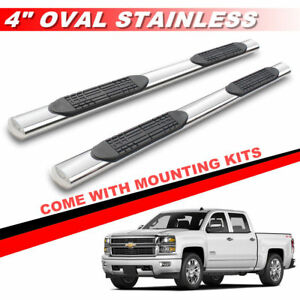 4 Stainless Running Boards For 2001 2018 Chevy Silverado Crew Cab Side Bars