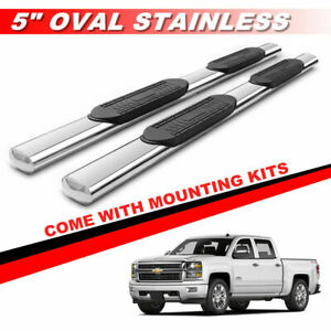 5 S s Oval Nerf Bars For 1999 2013 Chevy Silverado Crew Cab Running Boards